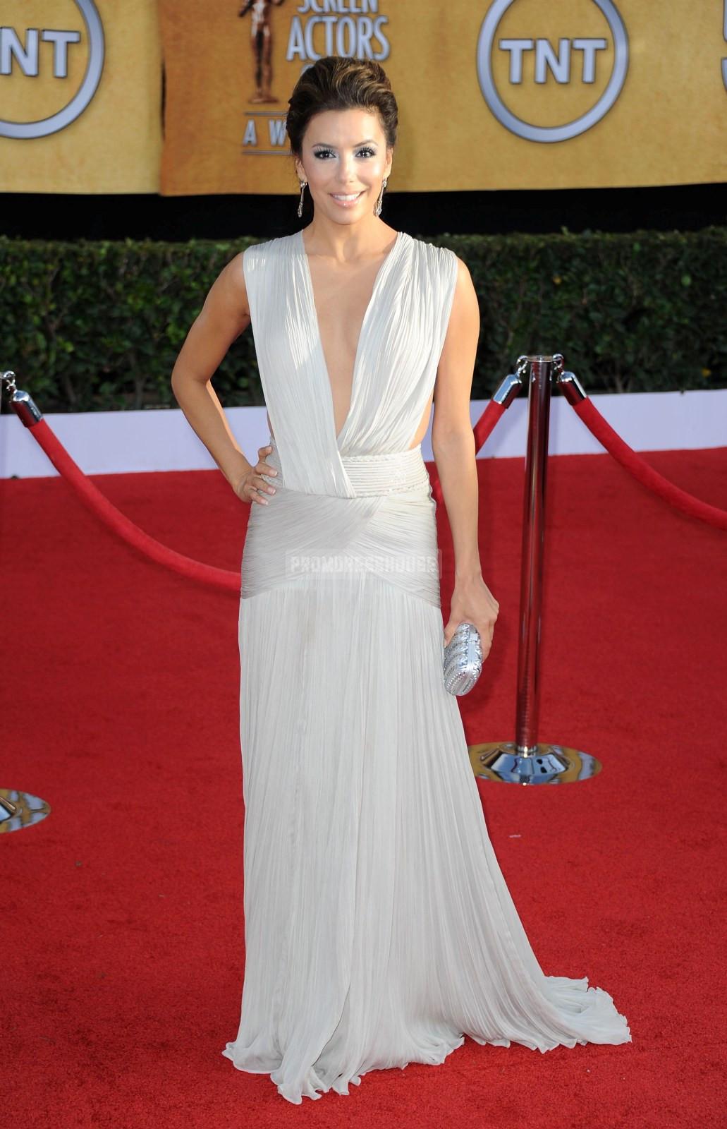 Ruched V-neck White A-line Chiffon Sweep Train Celebrity Dress - Promdresshouse.com