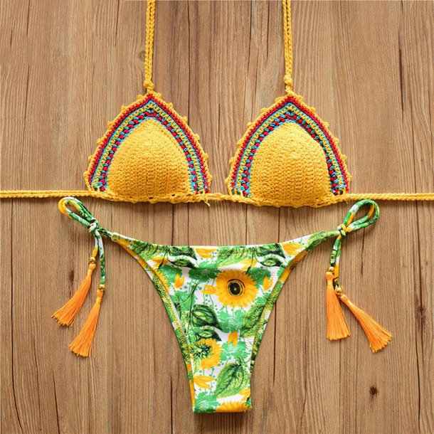 swimwear bikini yellow sunflower