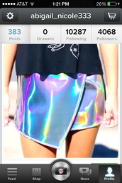 skirt,holographic,irregular skirt