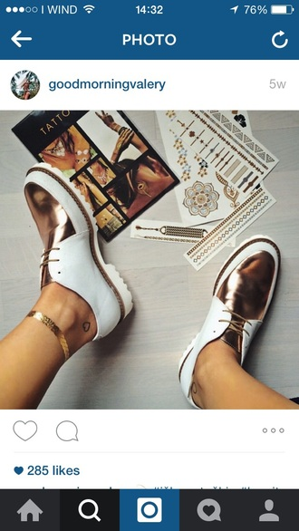 shoes white shoes white gold golden gold shoes oxfords white oxfords white gold metallic shoes rose gold