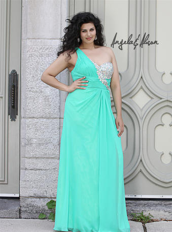 Angela and Alison Long Plus Size Prom 41098W  Angela & Alison Plus Size Collection for 2014 Prom Dresses - Pageant, Formal Gowns, Bridesmaid and Bridal Dresses - PROMUSA.BIZ