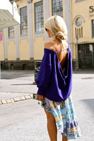sweater blue backless pullover backless sweater