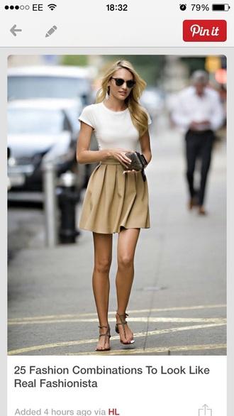 camel beige skirt fashion white top