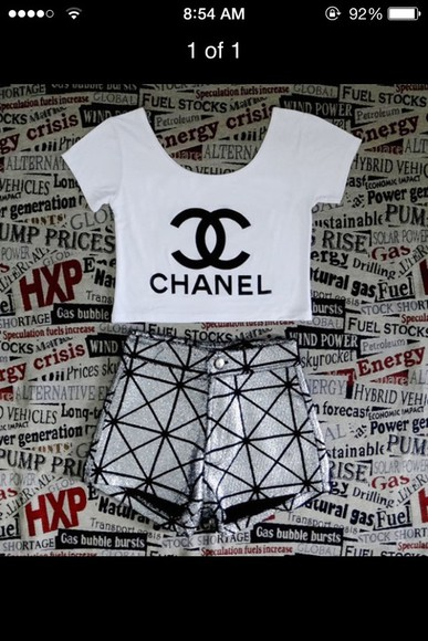 crop tops shirt chanel coco channel channel shirt