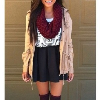 scarf coat t-shirt skirt ramones tan coat black skirt scarf red