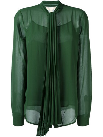blouse bow pleated women green top