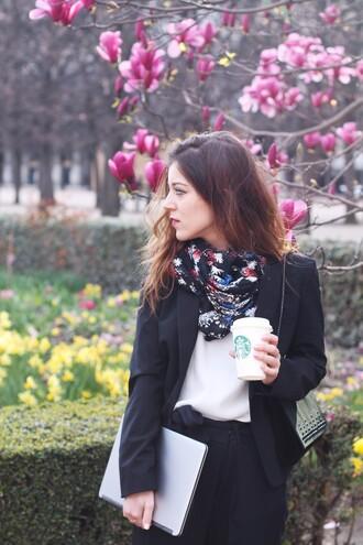 elodie in paris blogger jacket scarf shirt pants shoes bag jewels