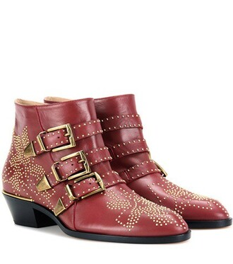 leather ankle boots studded boots ankle boots leather red shoes