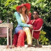 hat,pants,top,tunic,plunge dress,colorful,beyonce,Jay Z,instagram