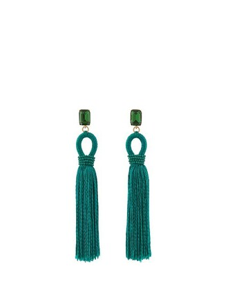 short tassel embellished earrings green jewels