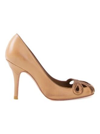 heel high women pumps brown shoes