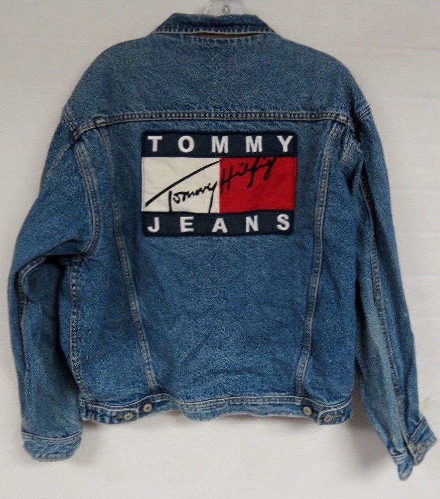 100% quality wholesale outlet new high quality VINTAGE 90s TOMMY JEANS HILFIGER DENIM JEAN JACKET USA FLAG LINED ...