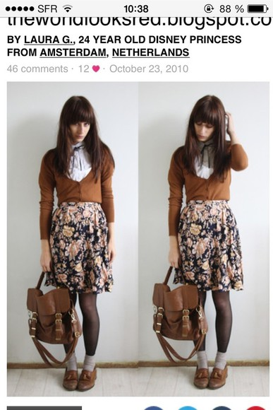 bag jacket blouse brown bag shoes skirt vintage