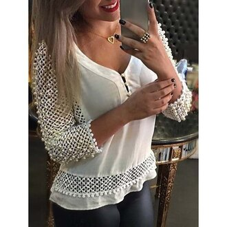 top fashion style white elegant v-neck fuzzy ball decorated hollow out 3/4 sleeve blouse for women lace summer long sleeves trendy rose wholesale dec rose wholesale-dec