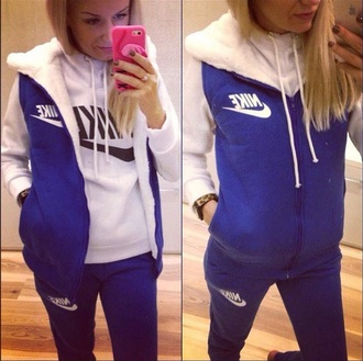 sweater zip blue hoodie nike tracksuit fashion pants outfit sportswear jumpsuit tracksuit bottoms sporty style jumper style winter sweater 3piece 3 piece suit hoodie jacket sweatpants winter outfits