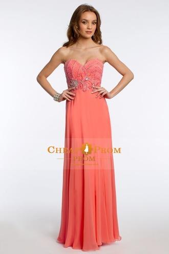 dress orange long elegant prom orange prom dress