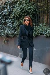 jacket,blazer,black blazer,pants,black pants,pumps,belt,sunglasses,heels,all black everything,streetstyle