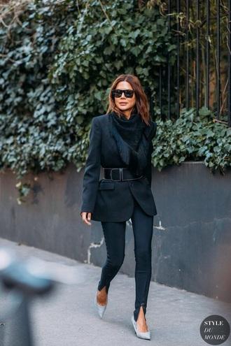 jacket blazer black blazer pants black pants pumps belt sunglasses heels all black everything streetstyle
