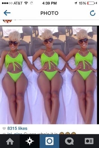 swimwear neon green jainice bikini bikini bottoms bikini top green swimwear green sunglasses