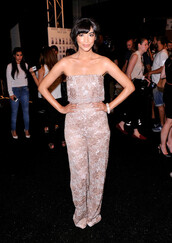 jumpsuit,hannah simone,new girl,fashion week 2014,lace