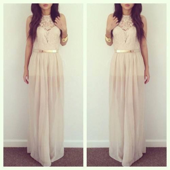 skirt dress maxi maxi dress long dress prom beige gold golden belt blog blogger fashion long prom dresses prom dress nude nude dress nude lace dress lace