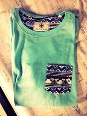 top,cotton,aztec,tribal pattern,t-shirt,design,everyday,frocket,pockets,front pocket,color/pattern,fancy,orange,yellow,green,aztec sweater,tribal cardigan,everyday wear,casual,pocket t-shirt,blue shirt,tiffany blue