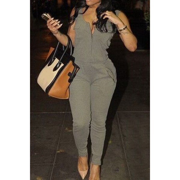 Wholesale Stylish U Neck Sleeveless Solid Color Low Cut Jumpsuit For