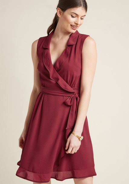Modcloth dress wrap dress burgundy red