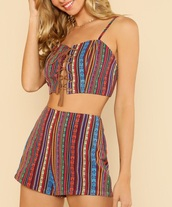 romper,girly,two-piece,matching set,cropped,crop tops,crop,shorts,print