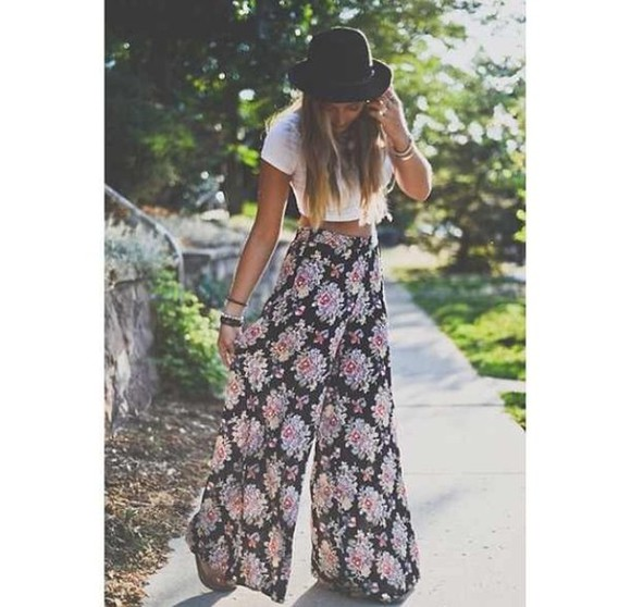 sheer floral pants flowy pants