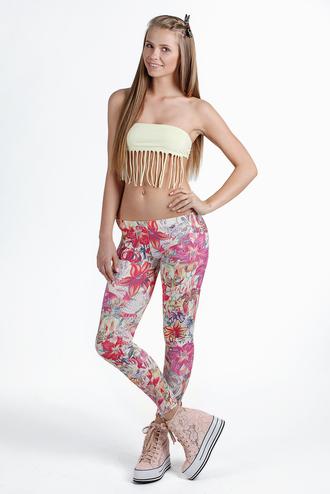 leggings printed leggings pink leggings flower print leggings floral print leggings clothes girly print pink floral flowers style