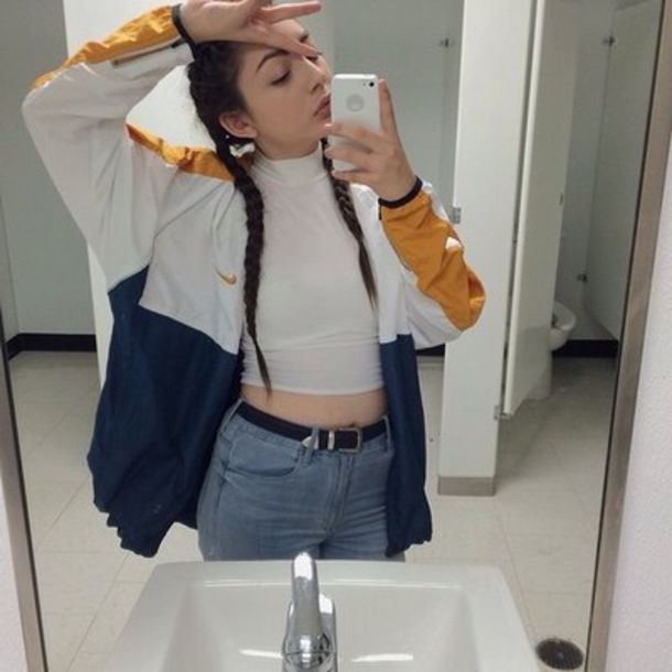 jacket nike jacket windbreaker colorblock clothes nike nike jacket windbreaker gold white blue