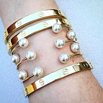 jewels jewel cult jewelry stacked bracelets bracelets arm candy gold gold bracelet pearl peal bracelet pearl bracelet