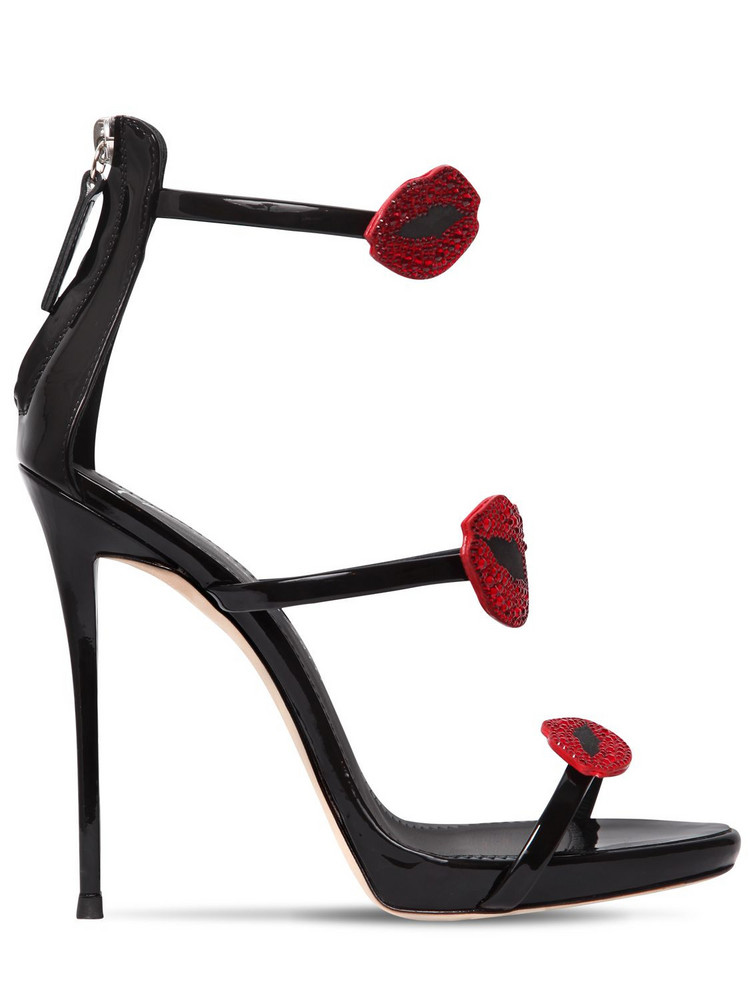 GIUSEPPE ZANOTTI DESIGN 110mm Crystals Patent Leather Sandals in black / red