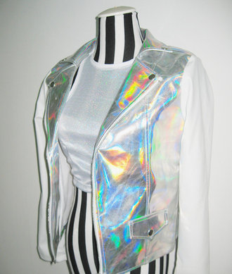 jacket holographic jacket holographic silver jacket silver white jacket white