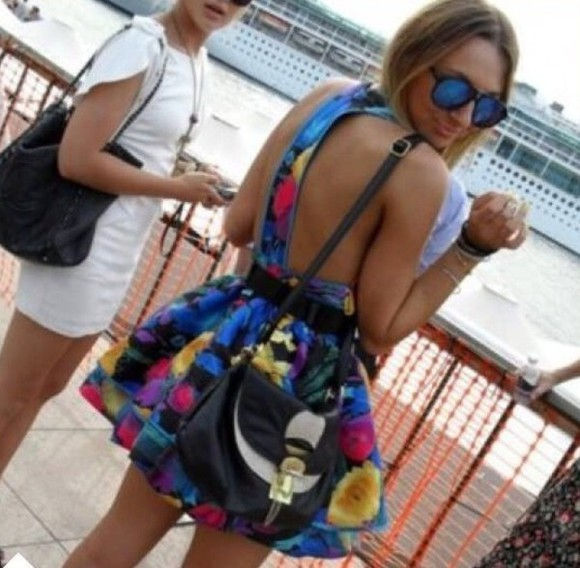black bag dress sunglasses backless colourful colorful rainbow blue back cut out white dress black heels blue dress black high heels