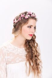 hair accessory,pink,cute,flower crown,boho,boho chic,indie,hipster,floral dress,flower headband,girly,beautiful,hairstyles,head jewels,wedding hairstyles