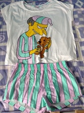 pajamas,mr. burns,the simpsons,t-shirt,shirt,shorts,stripes,pastel,pink,green,blue,white,mr. smithers,grunge,pjamas,home decor,multicolor,funny,cartoon,kawaii,sleep,lazy day
