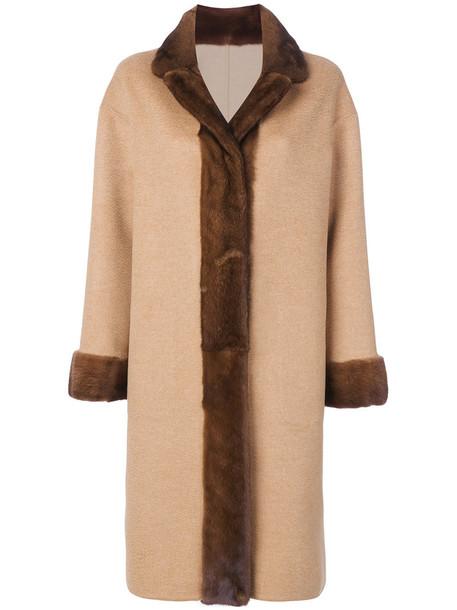 Liska coat fur fox women wool brown