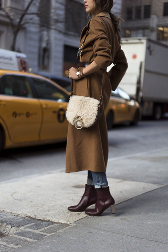 coat buckle bag tumblr bag white bag fur bag boots ankle boots high heels boots burgundy waist belt belt rust burgundy shoes fall colors fall outfits