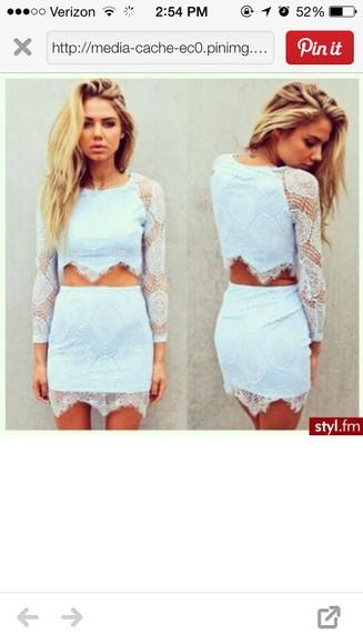 shirt skirt lace dress longsleeve lace dress two pieces set two piece prom dress