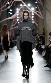 sweater,turtleneck,oversized sweater,oversized,grey sweater,runway,london fashion week 2016,fashion week 2016