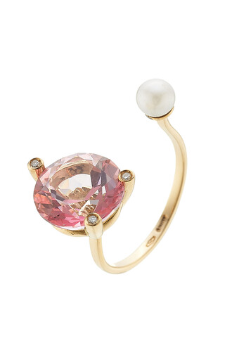 pearl diamonds ring gold ring gold white pink rose jewels