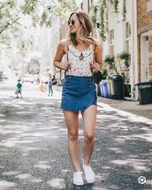 top,skirt,sneakers,tumblr,collar,sleeveless,sleeveless top,mini skirt,denim,denim skirt,white sneakers,shoes