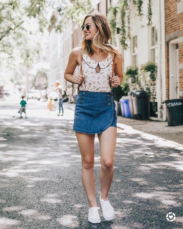 top skirt sneakers tumblr collar sleeveless sleeveless top mini skirt denim denim skirt white sneakers shoes
