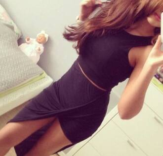 dress little black dress black cute cute dress so pretty skirt long skirt draped dress light brown belt