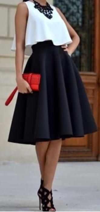 dress black heels black skirt white top red bag high heels skirt top crop tops shoes