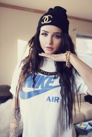 nike t-shirt white nike air blue