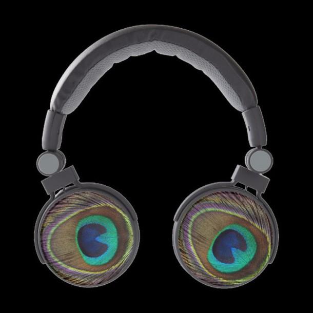 earphones peacock headphones zazzle animal bord birds love gift ideas