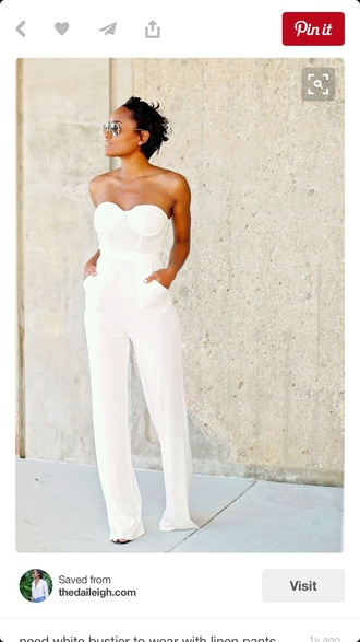 jumpsuit white strapless jumpsuit with pockets